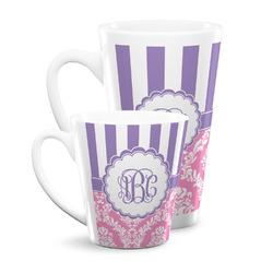 Pink & Purple Damask Latte Mug (Personalized)