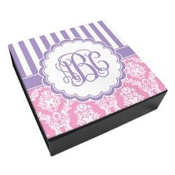 Pink & Purple Damask Leatherette Keepsake Box - 8x8 (Personalized)