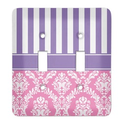Pink & Purple Damask Light Switch Cover (2 Toggle Plate) (Personalized)