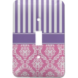 Pink & Purple Damask Light Switch Cover (Single Toggle) (Personalized)