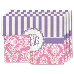 Pink & Purple Damask Linen Placemat w/ Monogram