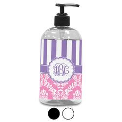 Pink & Purple Damask Plastic Soap / Lotion Dispenser (Personalized)