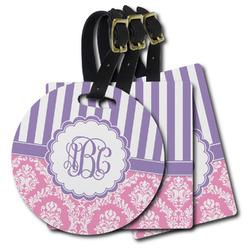 Pink & Purple Damask Plastic Luggage Tags (Personalized)