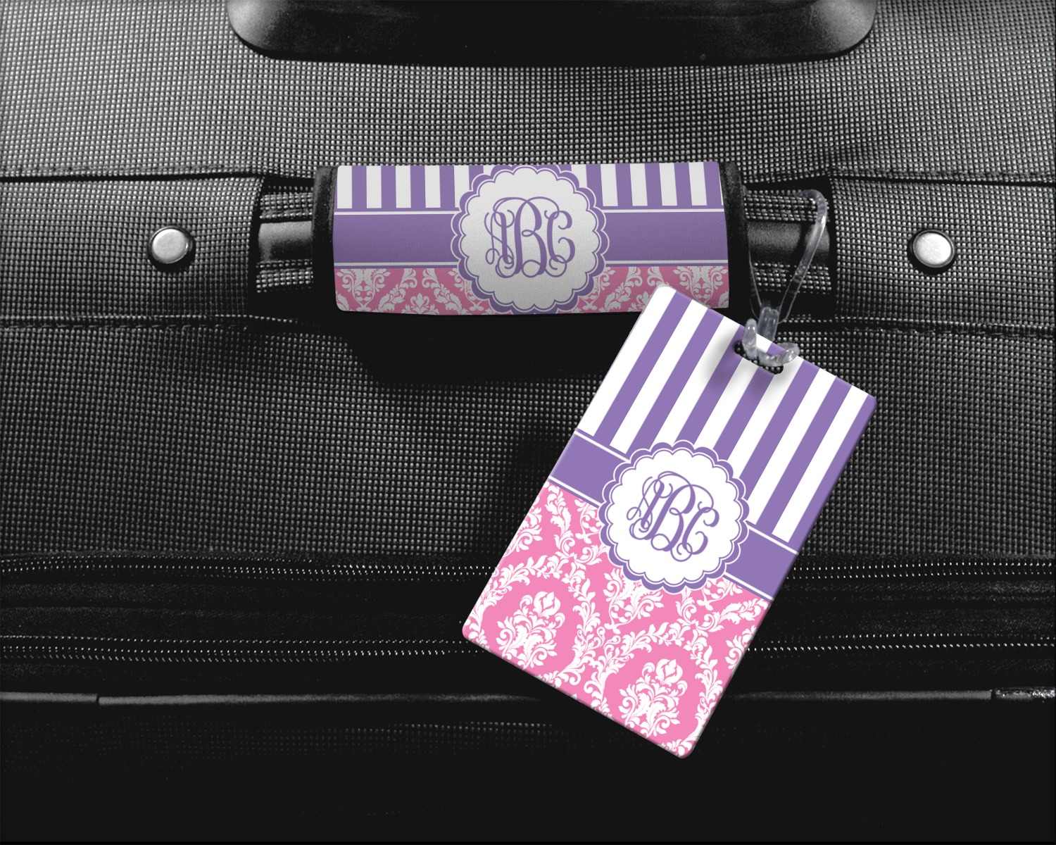 Purple Tag: Pink & Purple Damask Square Luggage Tag (Personalized