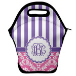 Pink & Purple Damask Lunch Bag w/ Monogram