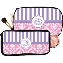 Pink & Purple Damask Makeup / Cosmetic Bag (Personalized)