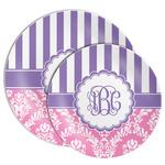 Pink & Purple Damask Melamine Plate (Personalized)