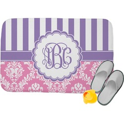 Pink & Purple Damask Memory Foam Bath Mat (Personalized)