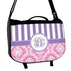 Pink & Purple Damask Messenger Bag (Personalized)