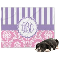 Pink & Purple Damask Minky Dog Blanket (Personalized)