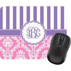 Pink & Purple Damask Rectangular Mouse Pad (Personalized)