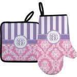 Pink & Purple Damask Oven Mitt & Pot Holder (Personalized)