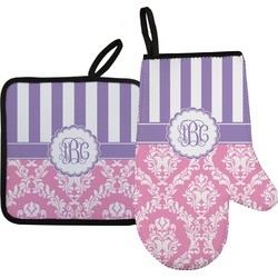Pink & Purple Damask Oven Mitt & Pot Holder (Personalized)