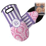 Pink & Purple Damask Neoprene Oven Mitt (Personalized)