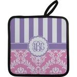 Pink & Purple Damask Pot Holder (Personalized)