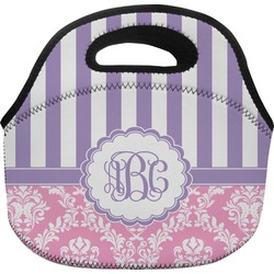 Pink & Purple Damask Lunch Bag (Personalized)