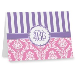Pink & Purple Damask Notecards (Personalized)