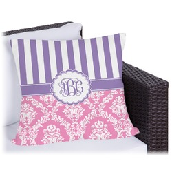"""Pink & Purple Damask Outdoor Pillow - 26"""" (Personalized)"""