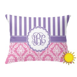Pink & Purple Damask Outdoor Throw Pillow (Rectangular) (Personalized)
