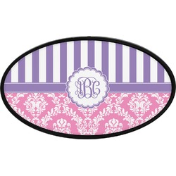 Pink & Purple Damask Oval Trailer Hitch Cover (Personalized)