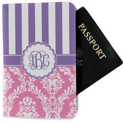 Pink & Purple Damask Passport Holder - Fabric (Personalized)