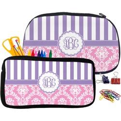 Pink & Purple Damask Neoprene Pencil Case (Personalized)