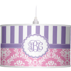 Pink & Purple Damask Drum Pendant Lamp (Personalized)