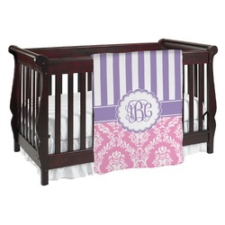 Pink & Purple Damask Baby Blanket (Personalized)