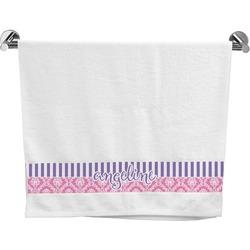 Pink & Purple Damask Bath Towel (Personalized)