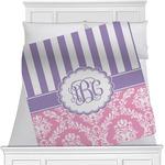 Pink & Purple Damask Minky Blanket (Personalized)