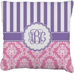 Pink & Purple Damask Burlap Throw Pillow (Personalized)