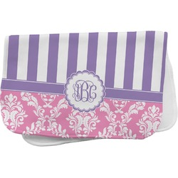 Pink & Purple Damask Burp Cloth (Personalized)