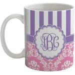 Pink & Purple Damask Coffee Mug (Personalized)