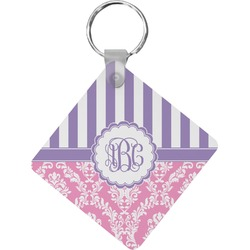 Pink & Purple Damask Diamond Key Chain (Personalized)