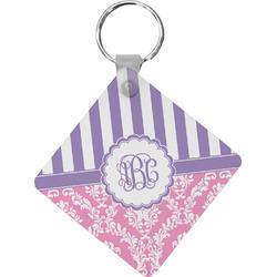 Pink & Purple Damask Diamond Key Chain (Personalized)