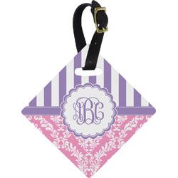 Pink & Purple Damask Diamond Luggage Tag (Personalized)