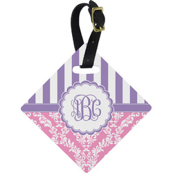 Pink & Purple Damask Diamond Luggage Tag (Personalized)