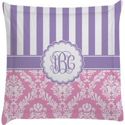 Pink & Purple Damask Euro Sham Pillow Case (Personalized)