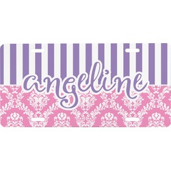 Pink & Purple Damask Front License Plate (Personalized)