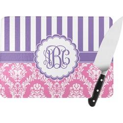 Pink & Purple Damask Rectangular Glass Cutting Board (Personalized)