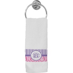 Pink & Purple Damask Hand Towel (Personalized)