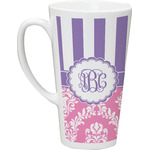 Pink & Purple Damask Latte Mug (Personalized)