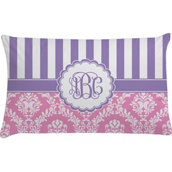 Pink & Purple Damask Pillow Case (Personalized)