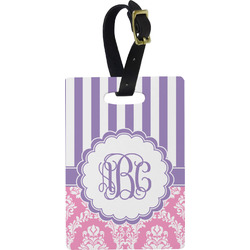 Pink & Purple Damask Rectangular Luggage Tag (Personalized)