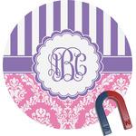 Pink & Purple Damask Round Magnet (Personalized)