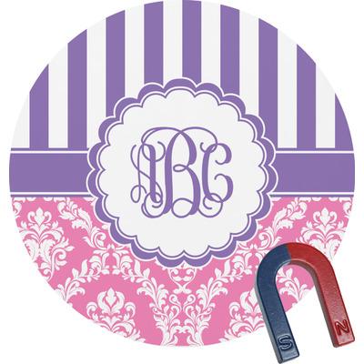Pink & Purple Damask Round Fridge Magnet (Personalized)