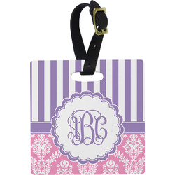 Pink & Purple Damask Square Luggage Tag (Personalized)