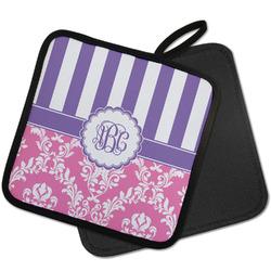 Pink & Purple Damask Pot Holder w/ Monogram