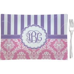 Pink & Purple Damask Rectangular Glass Appetizer / Dessert Plate - Single or Set (Personalized)