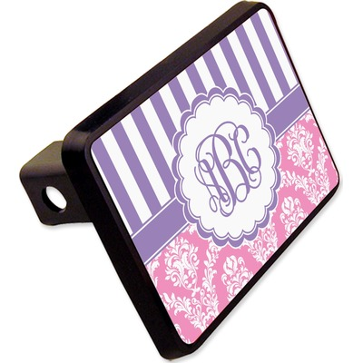 """Pink & Purple Damask Rectangular Trailer Hitch Cover - 2"""" (Personalized)"""